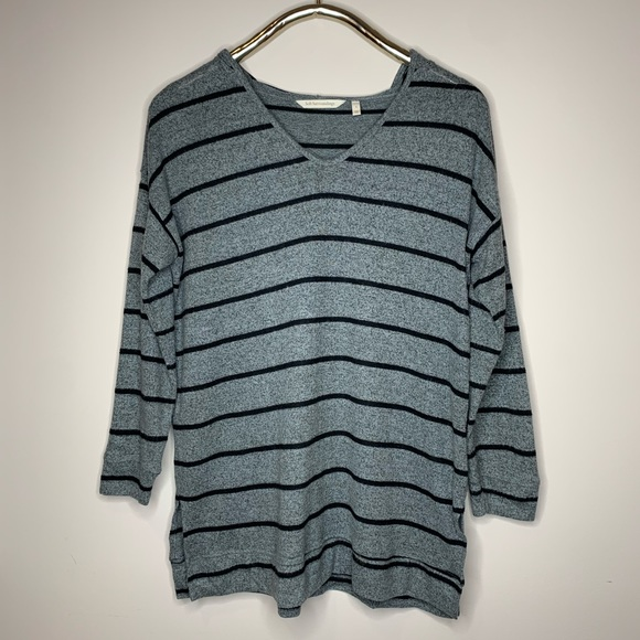 Soft Surroundings Sweaters - Soft Surroundings Gray Striped Downtown Hoodie
